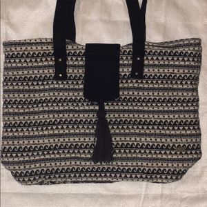 Blue and white canvas Roxy tote
